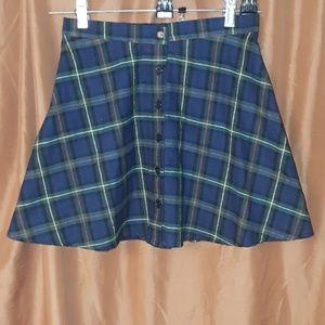 ** Gypsy Warrior Plaid Button Front Skirt Elastic
